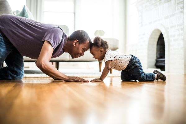 toddler daughter and father