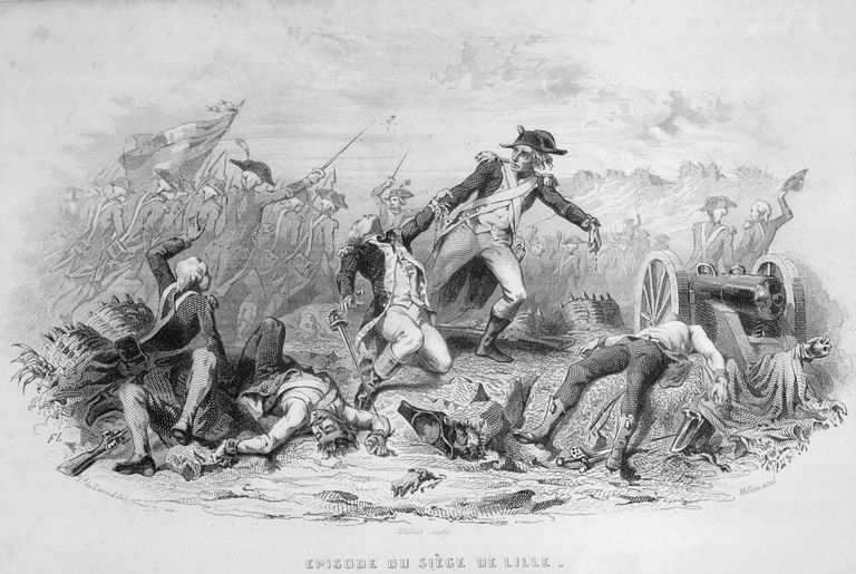 War Scene Between French and Other European Factions