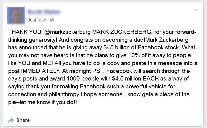 Mark Zuckerberg supposedly gives away millions to Facebook users