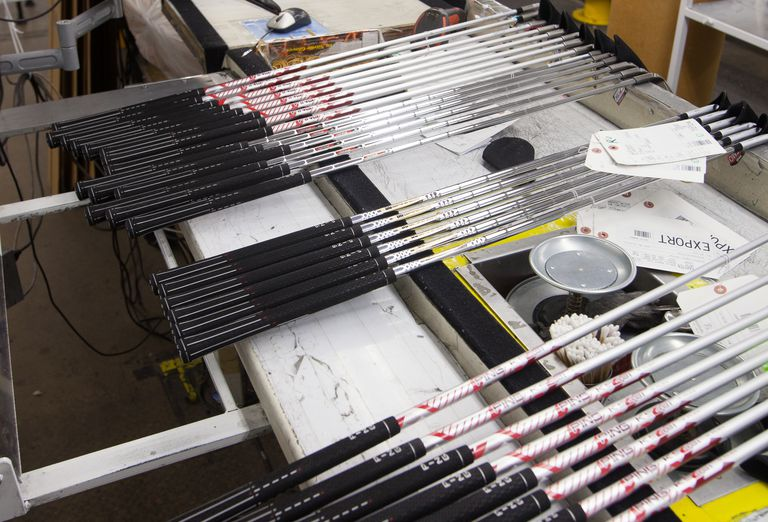 Golf shafts in the factory