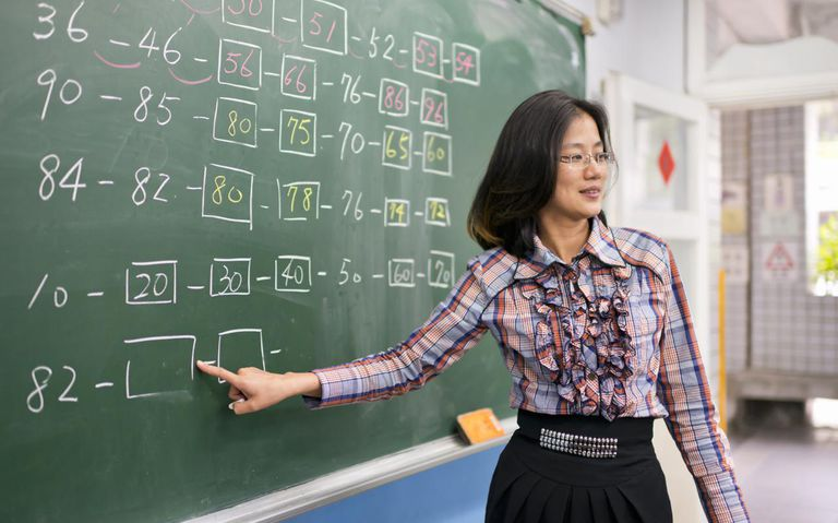 Math teacher pointing at blackboard