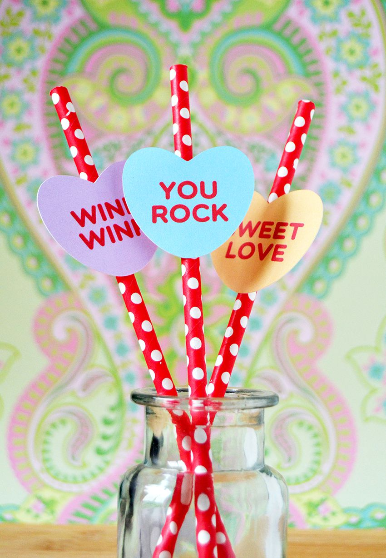 DIY Conversation Heart Straws