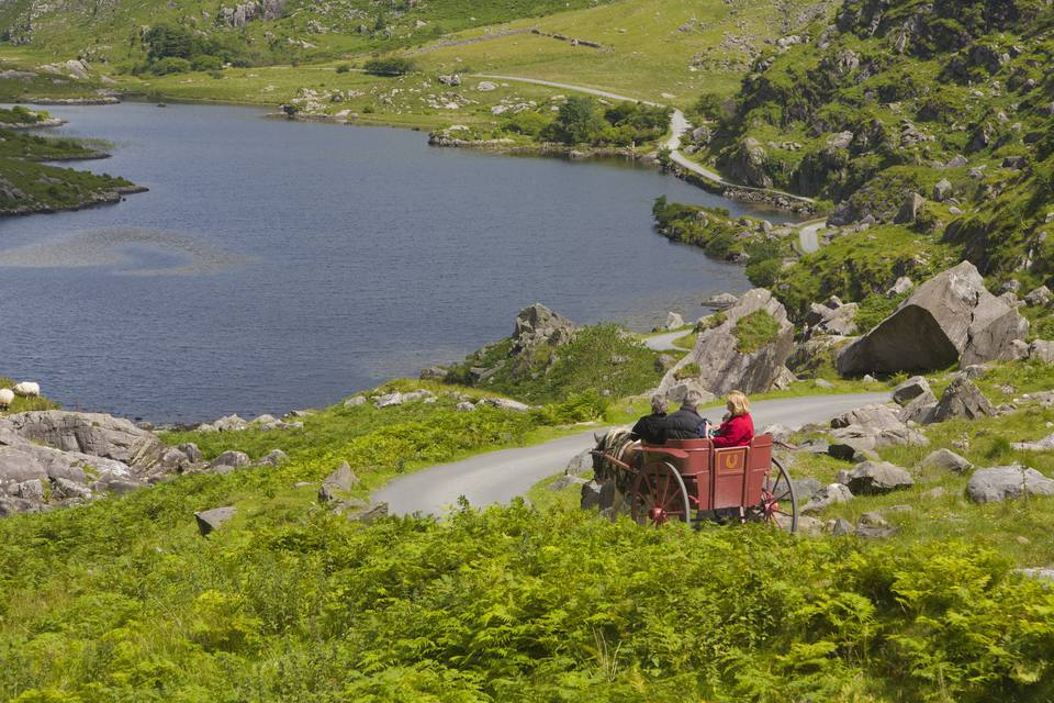 Tourists in Jaunting Car, Gap of Dunloe, County Kerry, Ireland MR