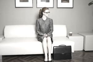 Business woman waiting for an interview