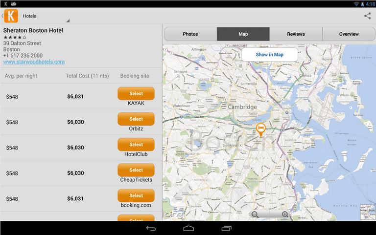 Kayak travel deal app on an Android tablet.