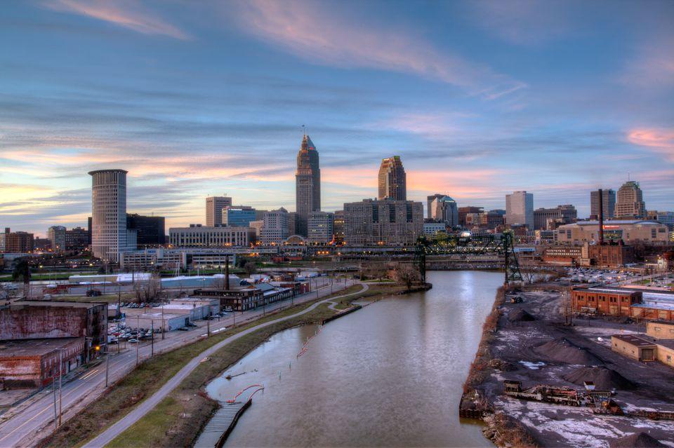 Downtown skyline Cleveland, Ohio at sunset.