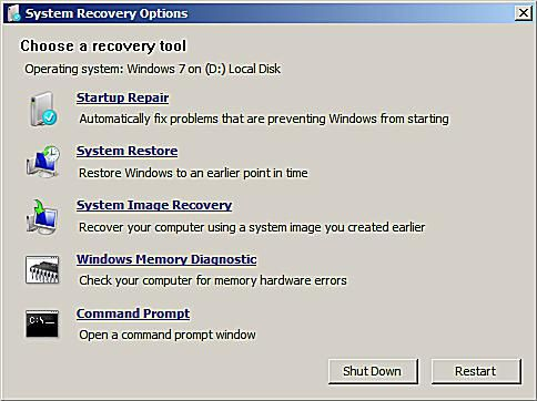 A screenshot of the System Recovery Options in Windows 7