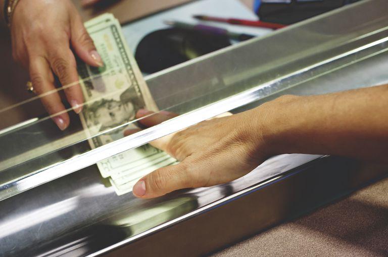 Depositing cash at the bank