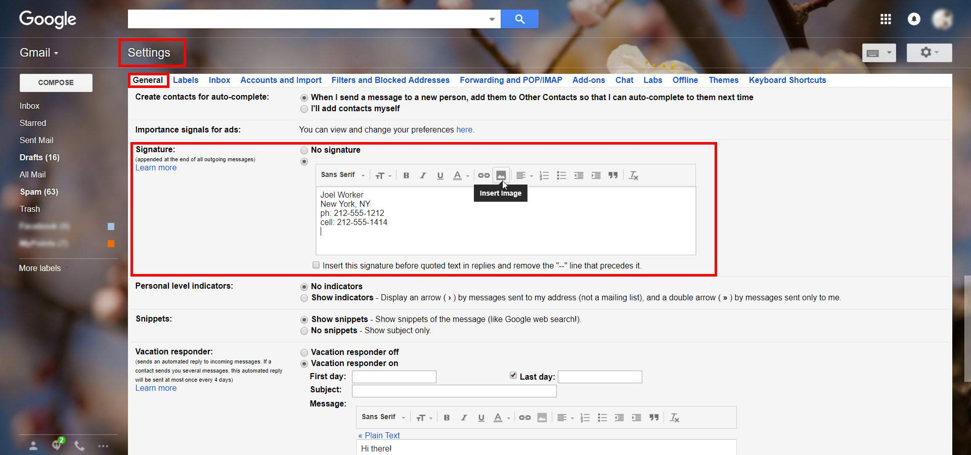 Screenshot of Gmail Settings showing an unfinished signature with the insert image option highlighted.