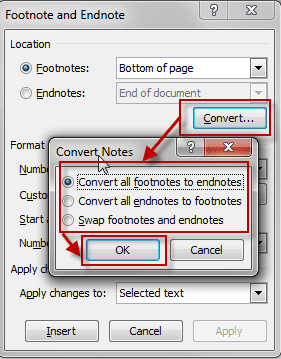 Convert all footnotes or endnotes