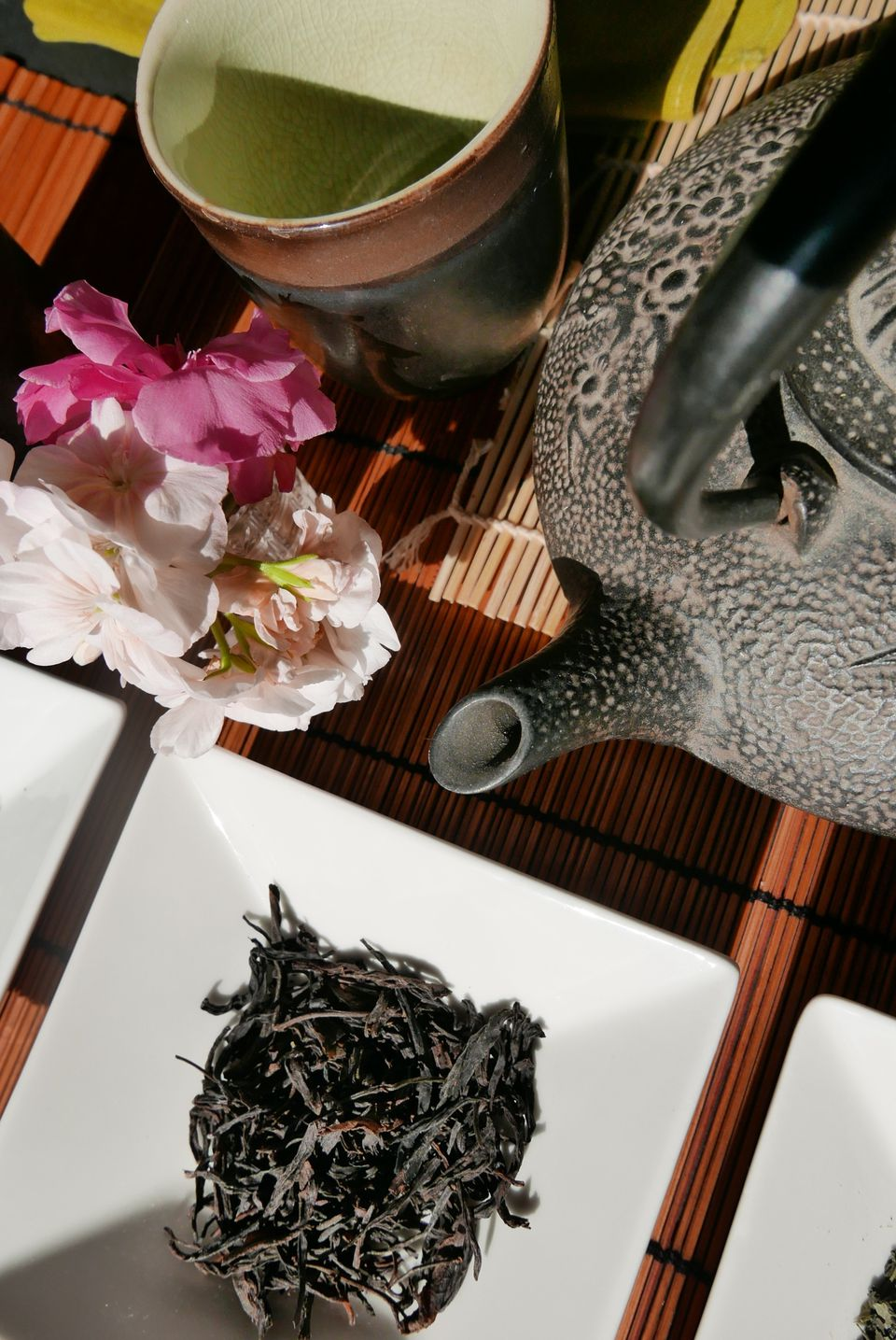 High Angle View Of Oolong Tea And Teapot