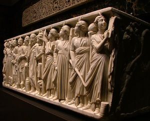 Roman sarcophagus with the 9 muses.