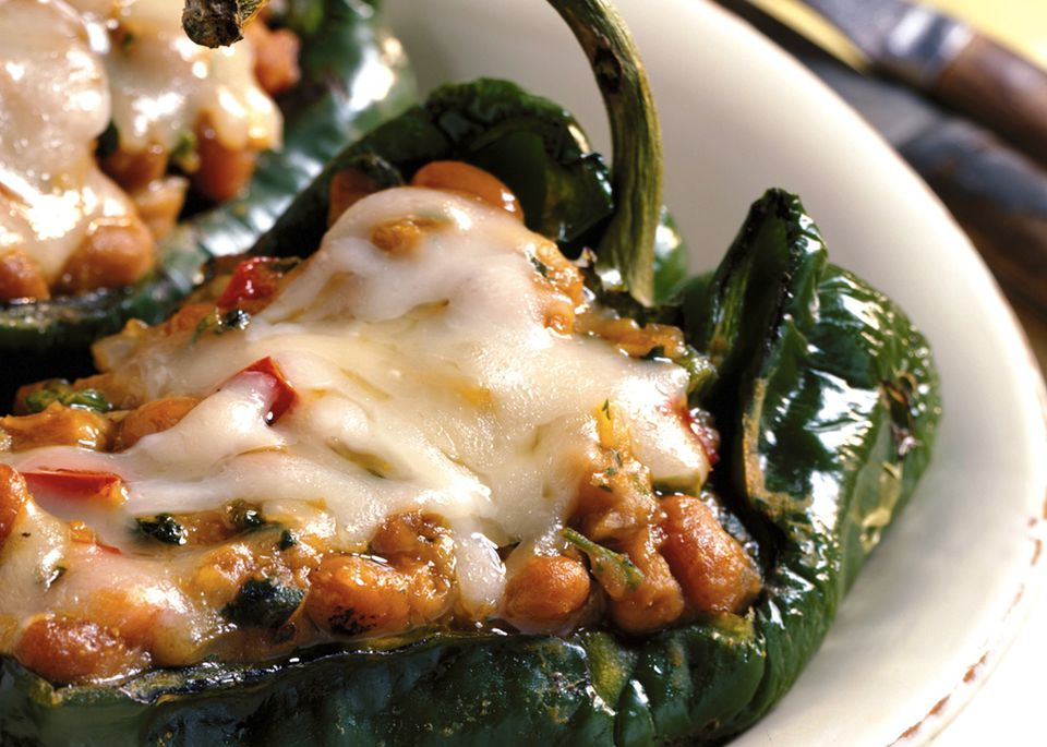 Grilled chile rellenos: Poblano peppers grilled and stuffed with cheese