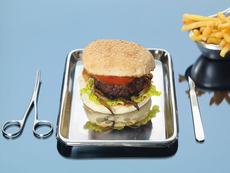 beef burger on surgical tray