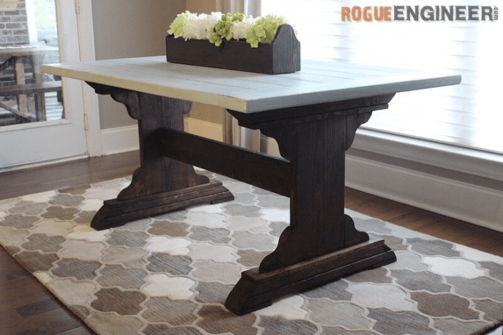 12 free dining room table plans for your home for Free dining table plans