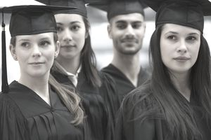 College graduates standing in a line