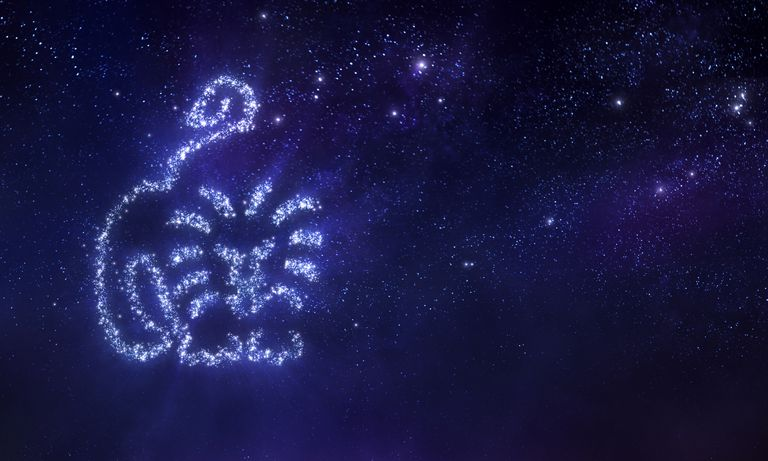 Stars in the night sky making up the Leo astrological sign