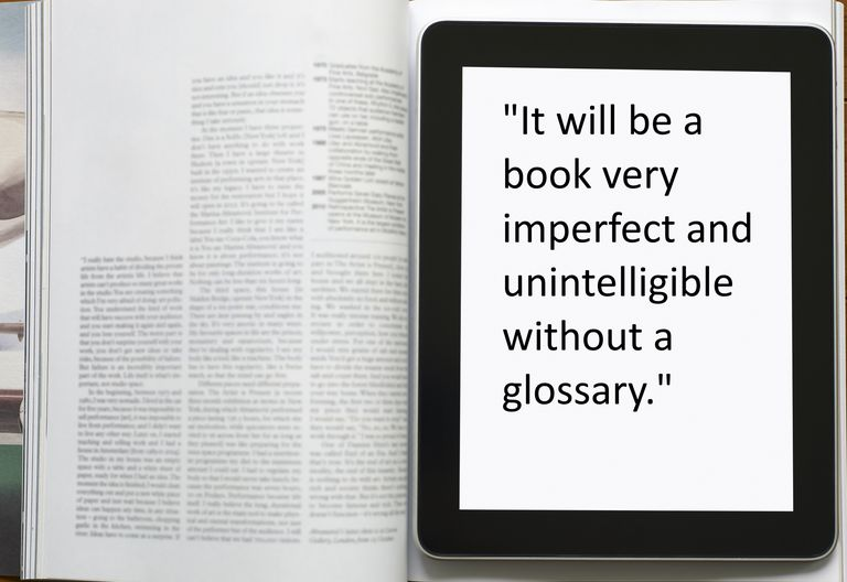 """Book with quote """"It will be a book very imperfect and unintelligible without a glossary"""""""