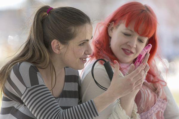 Women using assistive technology