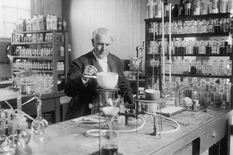 American inventor Thomas Edison in lab