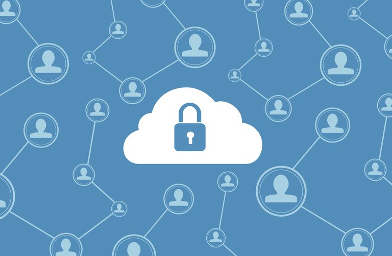 Image of a lock in a cloud, representing VPN style security on the internet