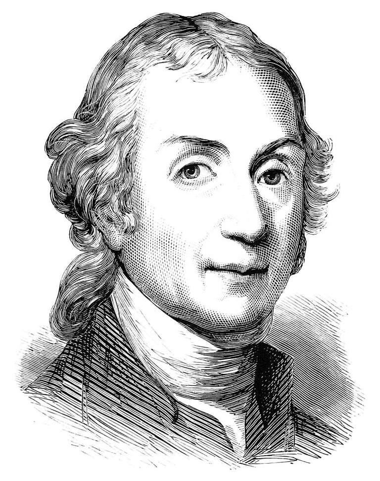 A woodcut portrait of Joseph Priestly