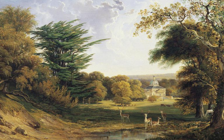 A view of Mereworth Castle and Park, Kent, England