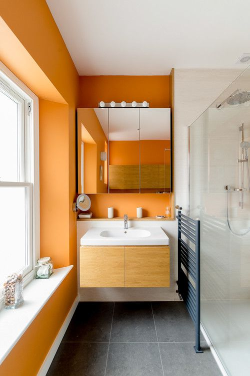 excellent orange bathroom floor | 15 Orange Bathroom Ideas