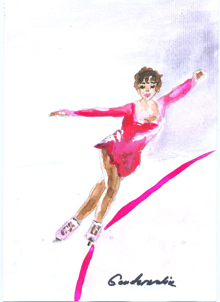 Drawing of a woman doing the crossover move in figure skating