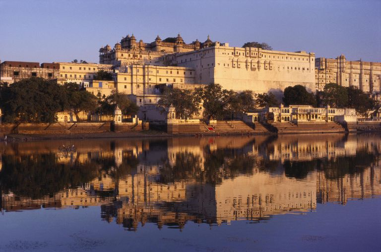 Grand Palace Reflected in the River Ganges, Udaipur, Rajasthan, India