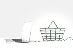 laptop with shopping basket