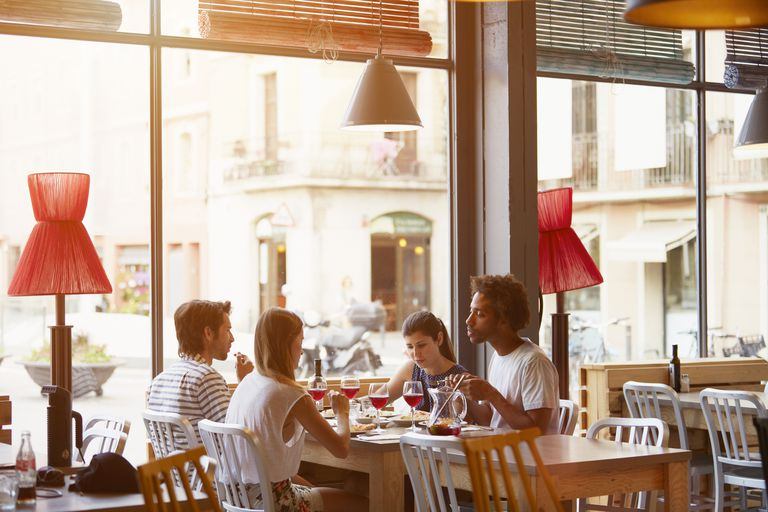 People eating at restaurant