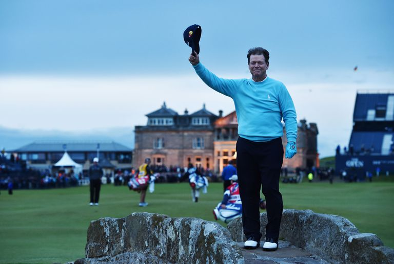 Tom Watson of the United States waves to the crowd from Swilcan Bridge in honor of his final Open Championship appearance during the second round of the 144th Open Championship at The Old Course on July 17, 2015 in St Andrews, Scotland