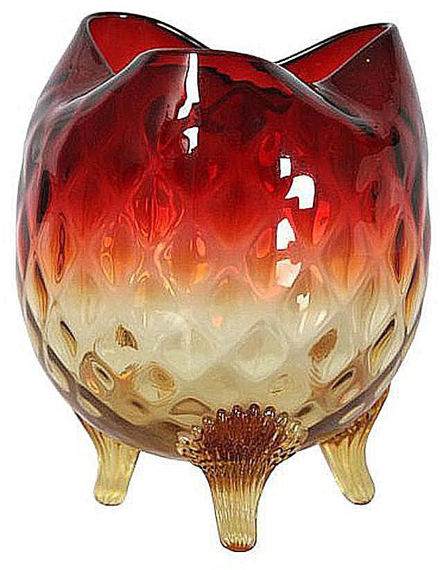 Amberina Glass Rose Bowl, c. 1900