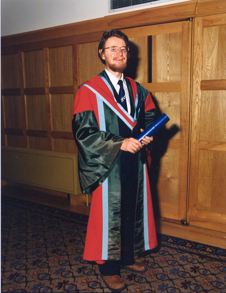 John Bell receiving an Honorary degree at Queen's University Belfast, July 1988.
