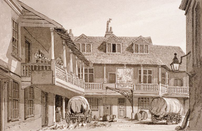 The Talbot (Taberd) Inn on Borough High Street, Southwark, London, 1827. Artist: John Chessell Buckler