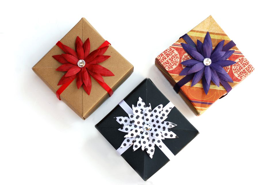 gift boxes with flower toppers