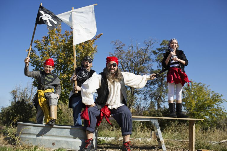 A family costumed as a group of pirates