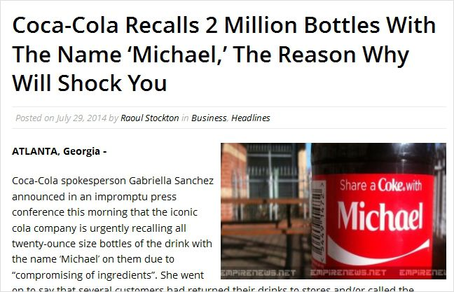 Coca-Cola Recalls 2 Million Bottles With The Name Michael