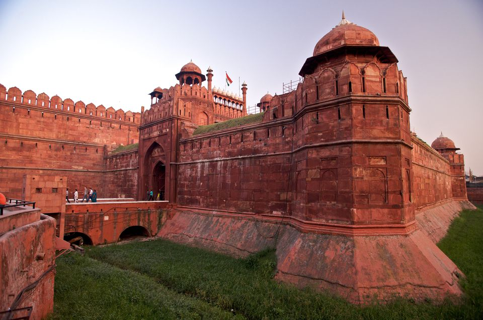 Walls of Lal Qila (Red Fort) in the evening, Old Delhi.