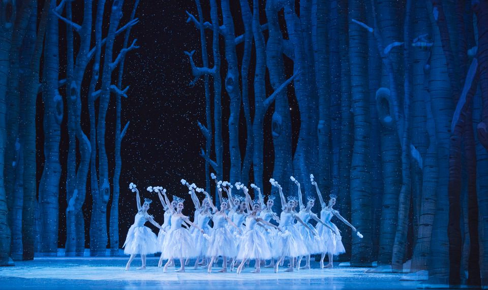 Pacific Northwest Ballet company dancers in the snow scene from George Balanchine's The Nutcracker™, choreographed by George Balanchine © The George Balanchine Trust. PNB's production features all new sets and costumes designed by children's author and illustrator Ian Falconer (Olivia the Pig) and runs November 27 – December 28, 2015. Photo © Elise Bakketun.