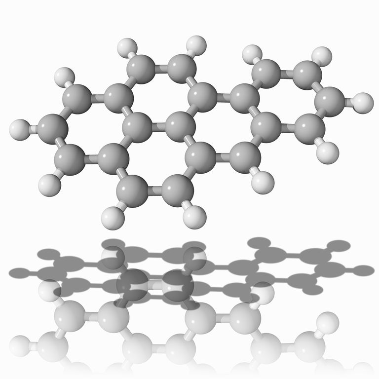 This is the ball and stick model of tobacco smoke toxin benzo[a]pyrene, a polycyclic aromatic hydrocarbon that is mutagenic and highly carcinogenic.