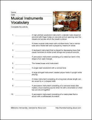 Musical Instruments Vocabulary