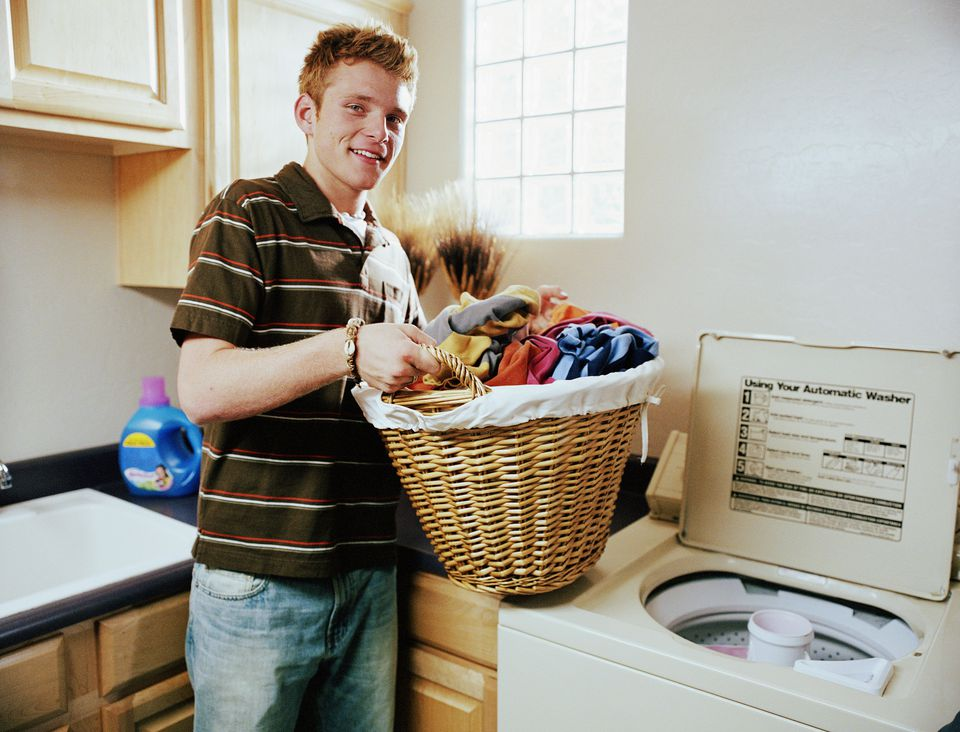 Teen boy and laundry
