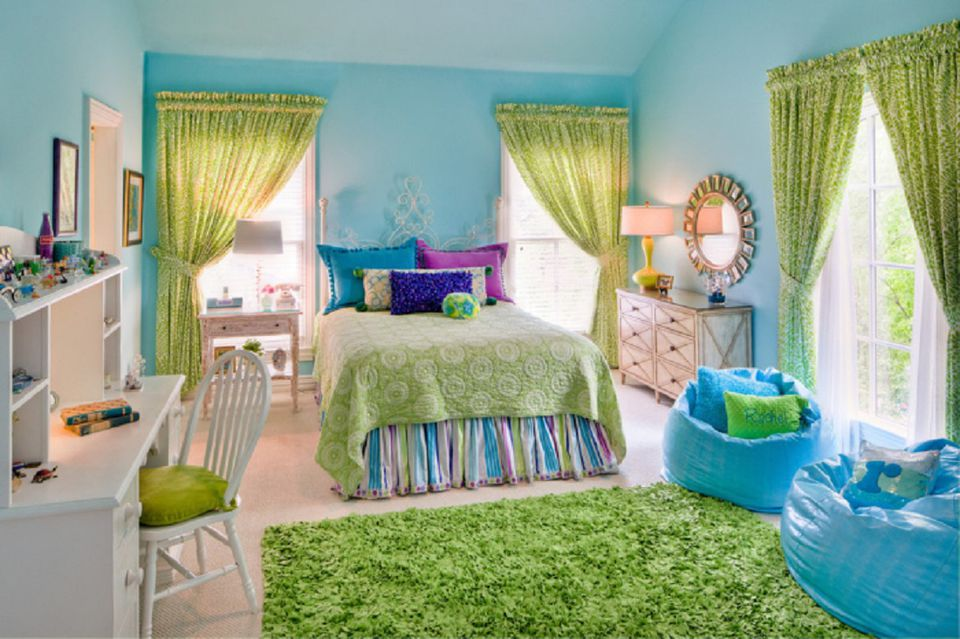 purple green and blue teen girls bedroom