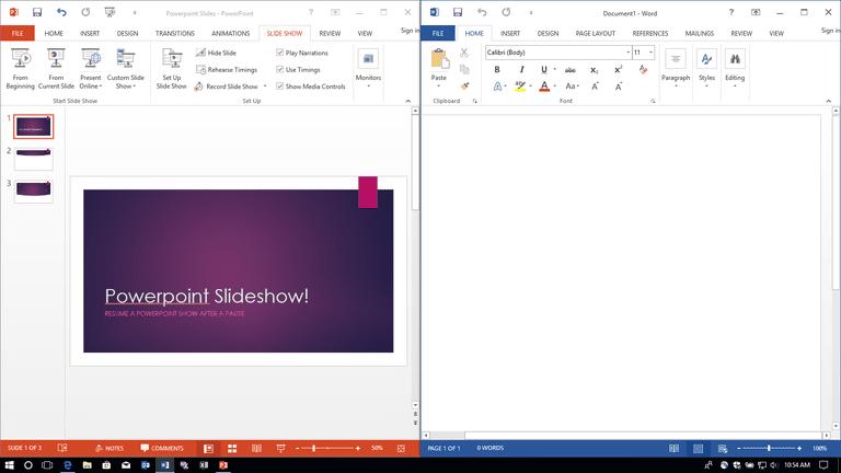 Microsoft Office Split Windows