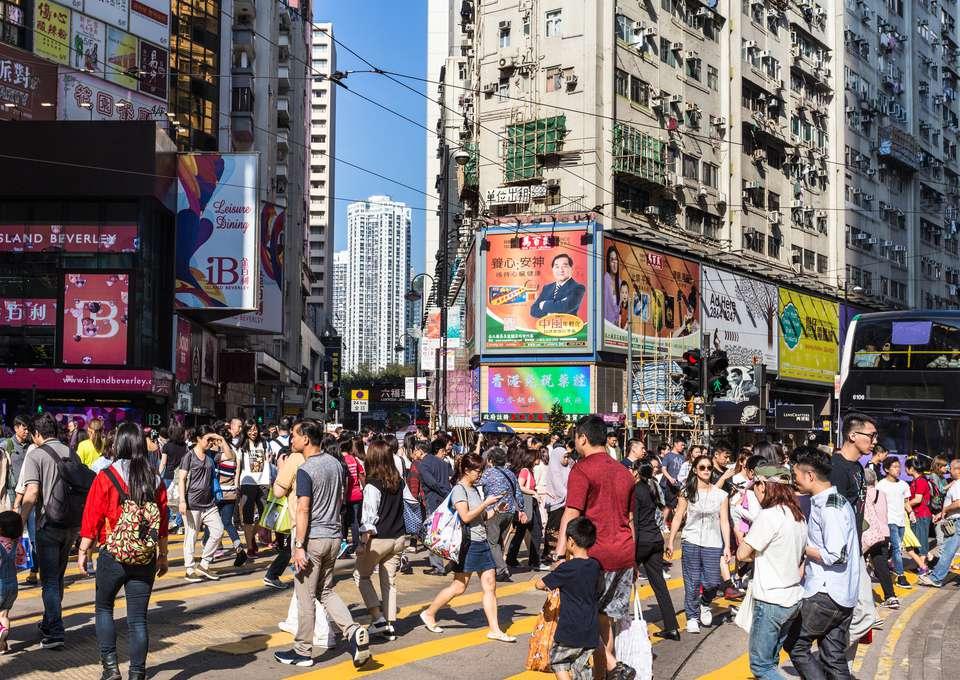 Causeway bay shopping district in Hong Kong