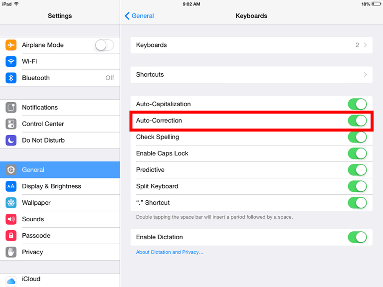 How To Turn On Off Auto Correct On The Iphone Ipad