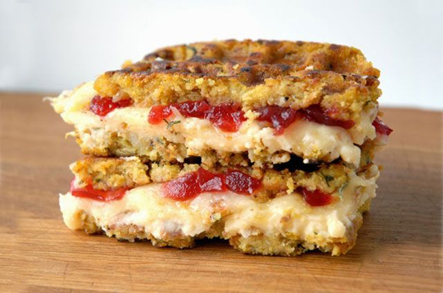Stuffing-Waffle Grilled Cheese with Thanksgiving Leftovers - Mashed Potatoes + Cranberry Jam and Muenster
