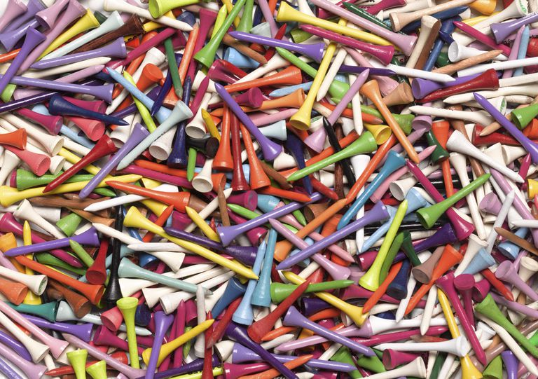 Collection of colorful golf tees